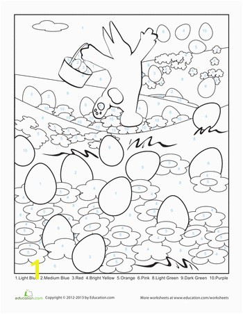 FREE Worksheets Easter Color By Number Page