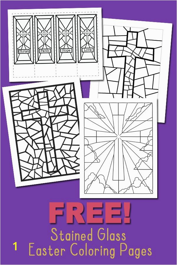 Easter Stained Glass Coloring Pages Free Stained Glass Coloring Pages and Bookmarks for Easter