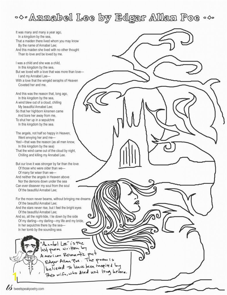 Edgar Allan Poe Coloring Pages Annabel Lee by Edgar Allan Poe Coloring Page Poems