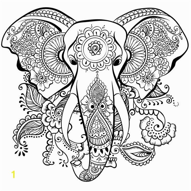 Elephant mandala henna coloring page
