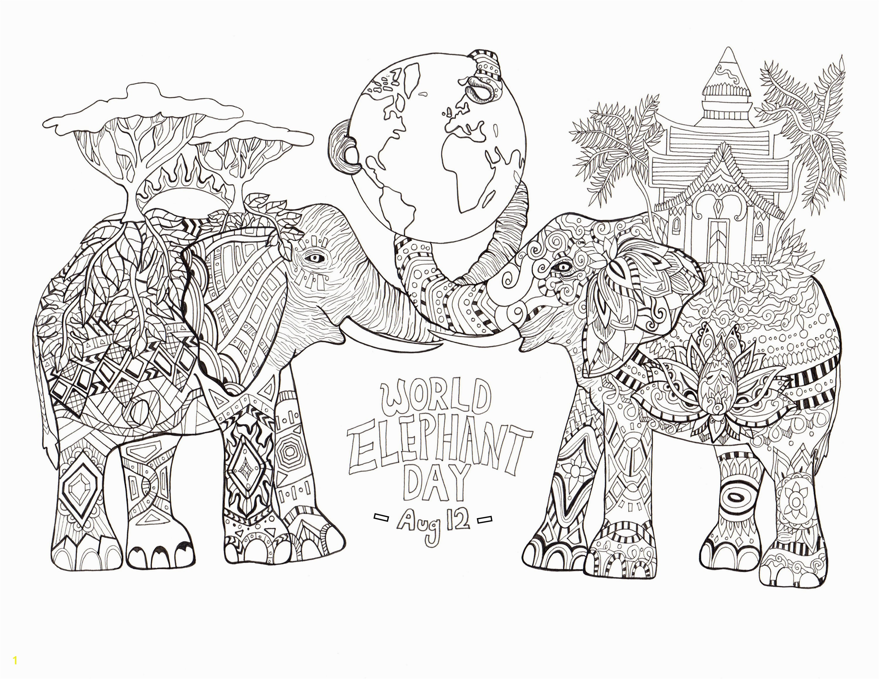 Coloring page drawn by Rylee Postulo for the World Elephant Day Aug 12