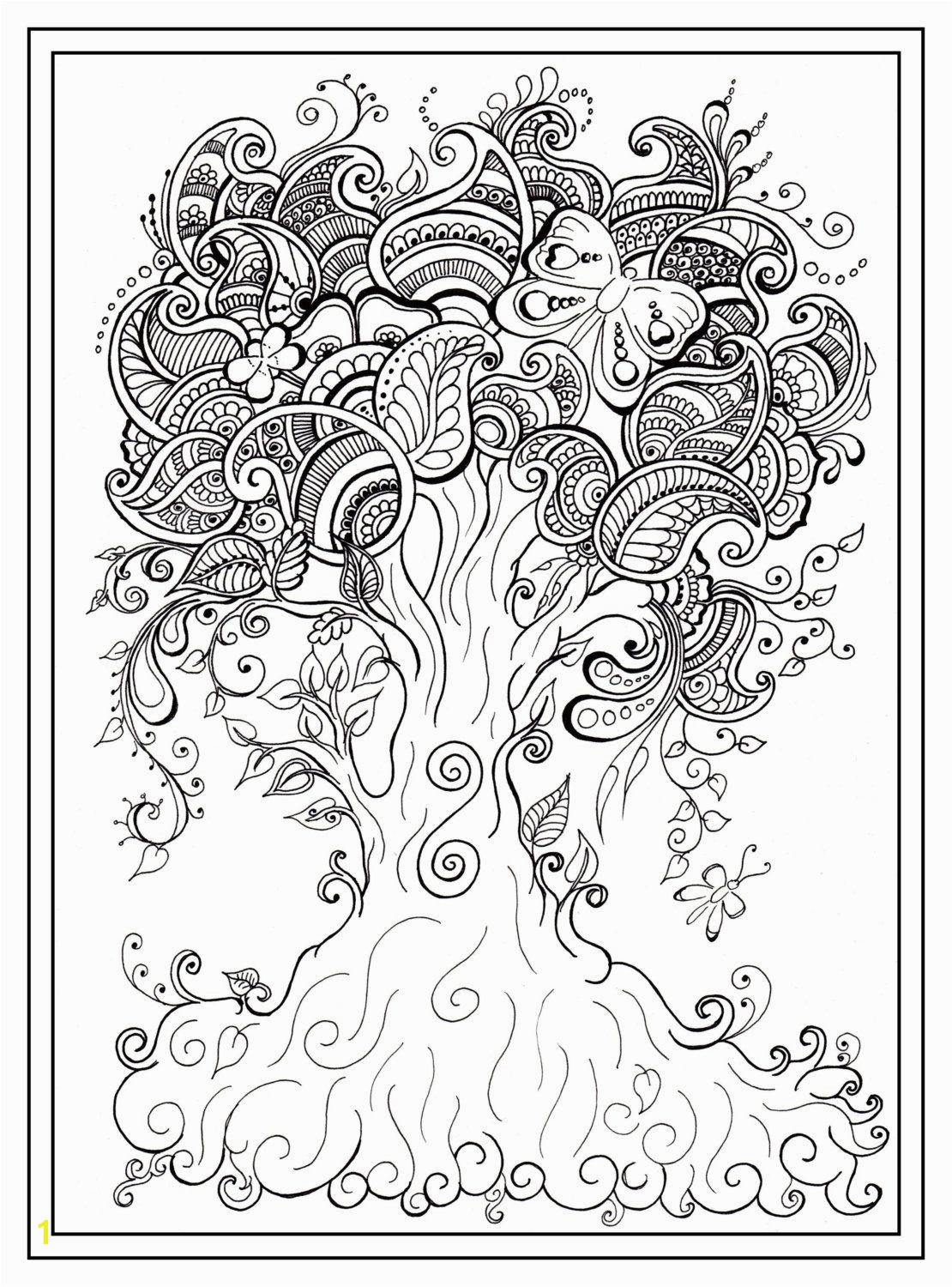 Enchanted forest Coloring Pages Pdf Luxury Adult Colouring In Pdf Download Tree Dragonfly Henna Zen Mandalas