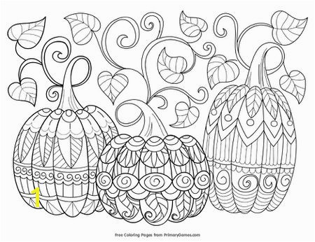 Primary Games Fall Coloring Pages Three pumpkins with vines