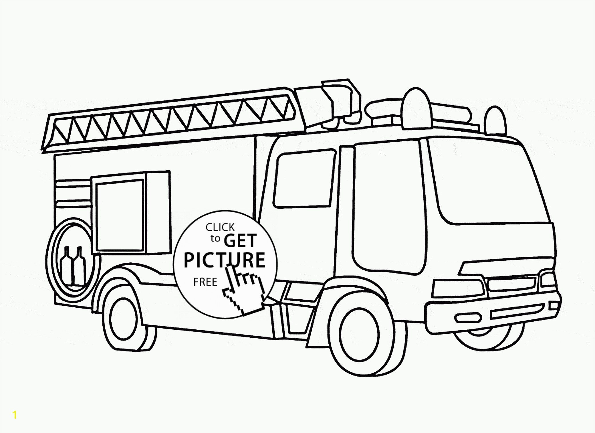 2080x1513 Fire Truck with Ladder coloring page for kids transportation