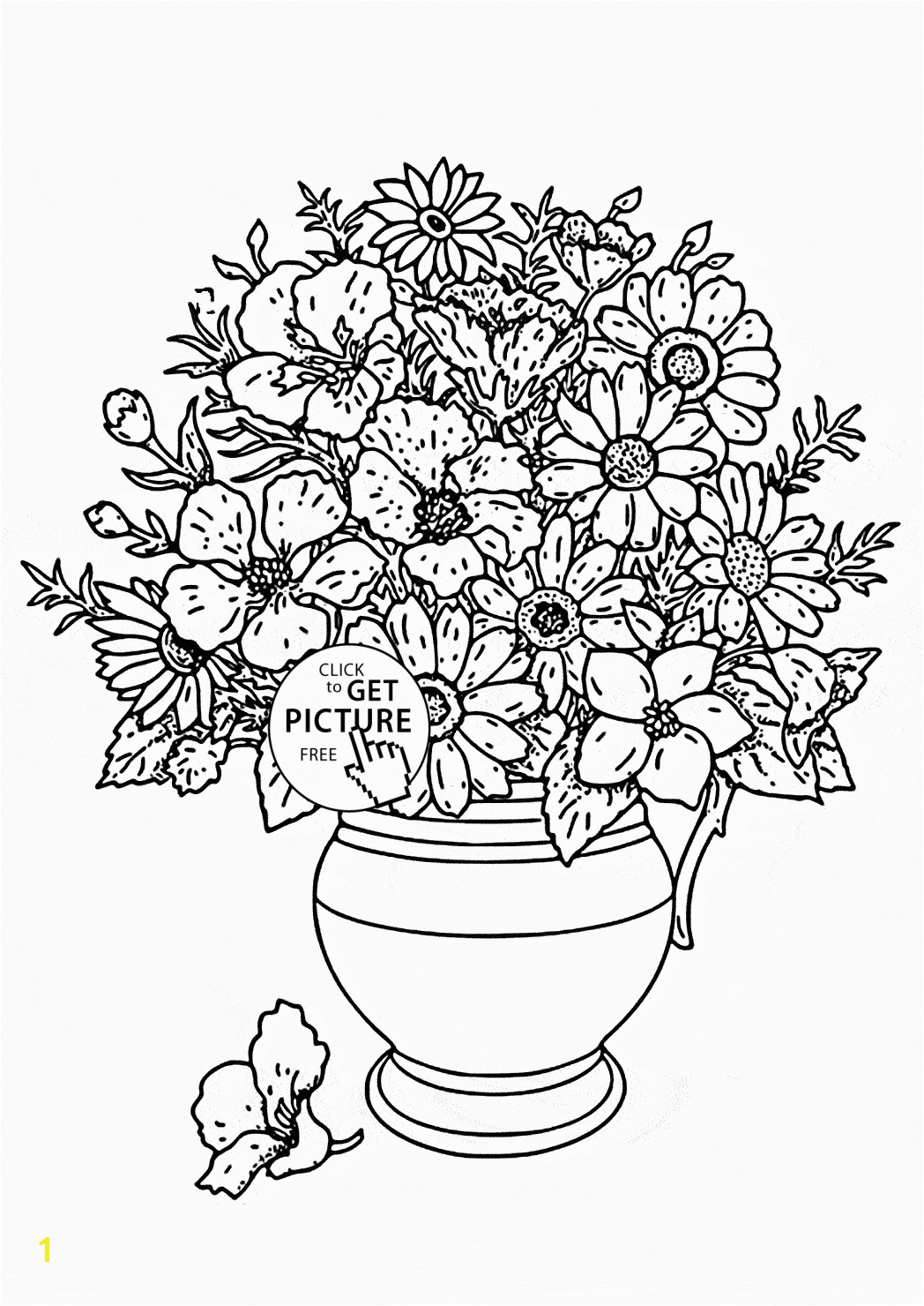 Realistic Bouquet of flowers in vase coloring page for kids flower coloring pages printables free Wuppsy