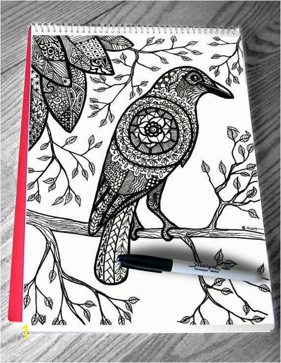 Beautiful crow coloring page for adult Raven bird branches leaves mandala zentangle art by Color my Doodles