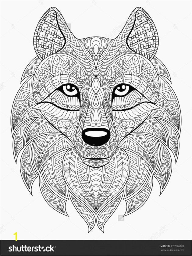 Unique Wolf Head In Zentangle Style Adult Antistress Coloring Page Black Awesome Fox Mandala Coloring