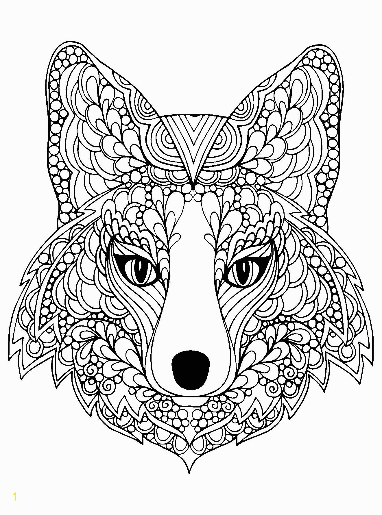 coloring page beutiful fox head free to print