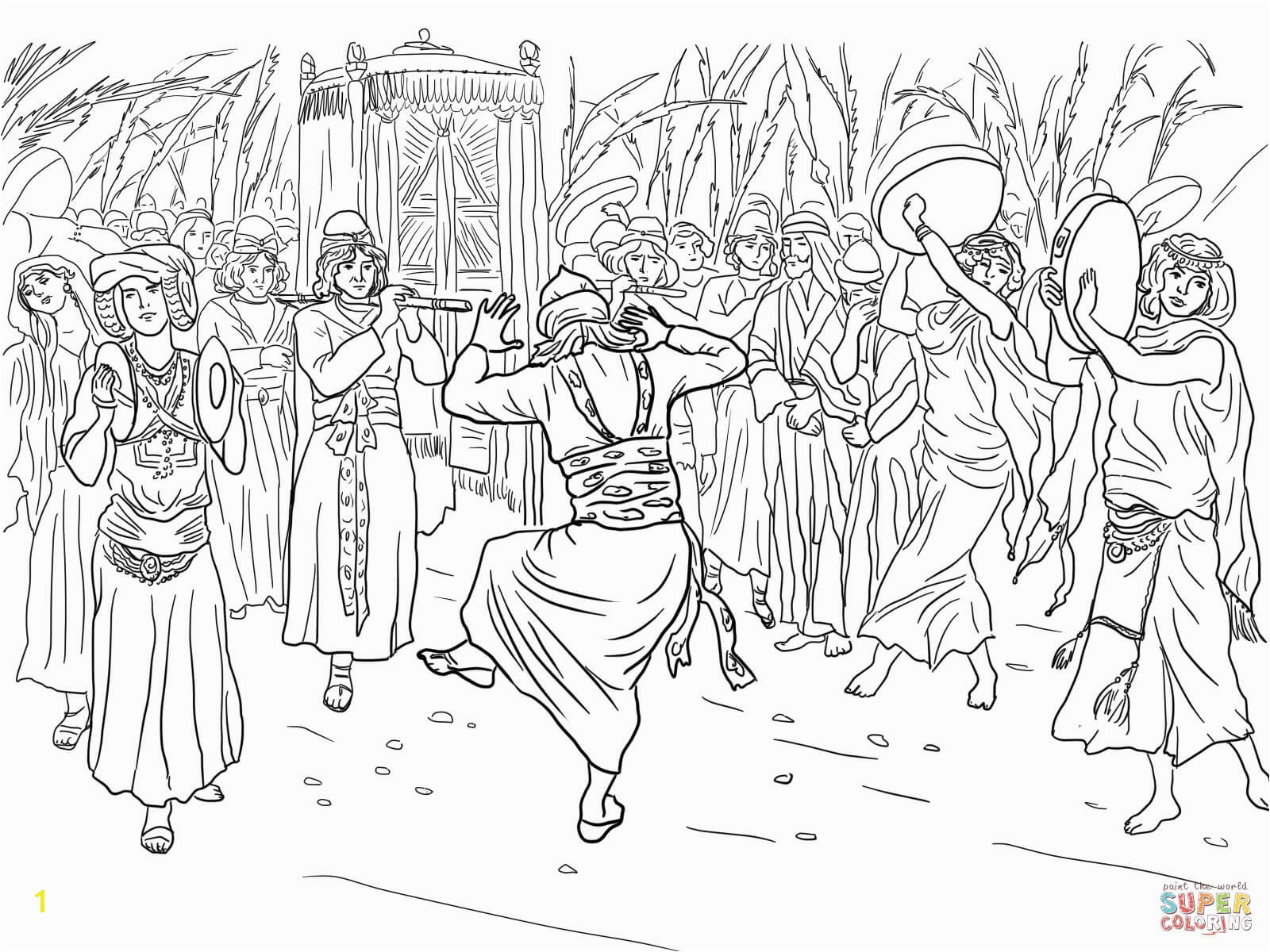 the King David Dancing Before the Ark of the Covenant coloring pages to view printable