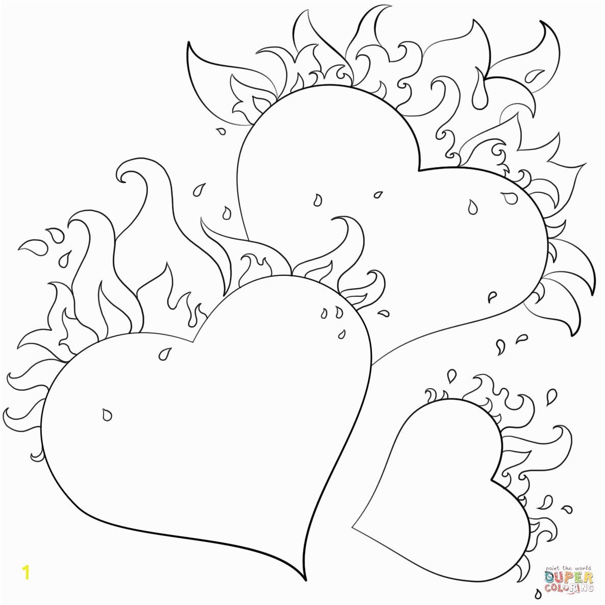 Free Coloring Pages Of Roses and Heart Hearts with Flames Coloring Page