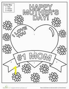 I Love You Mom Mother s Day Coloring PagesMothers DayWorksheetsFREE