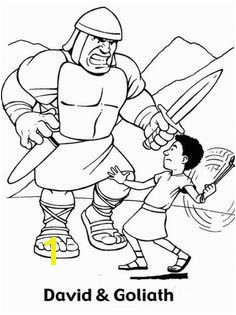 Great Battle David versus Goliath in the Bible Heroes Coloring Page