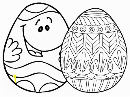 Easter Egg Coloring Pages at Coloring Two Easter eggs one with a face