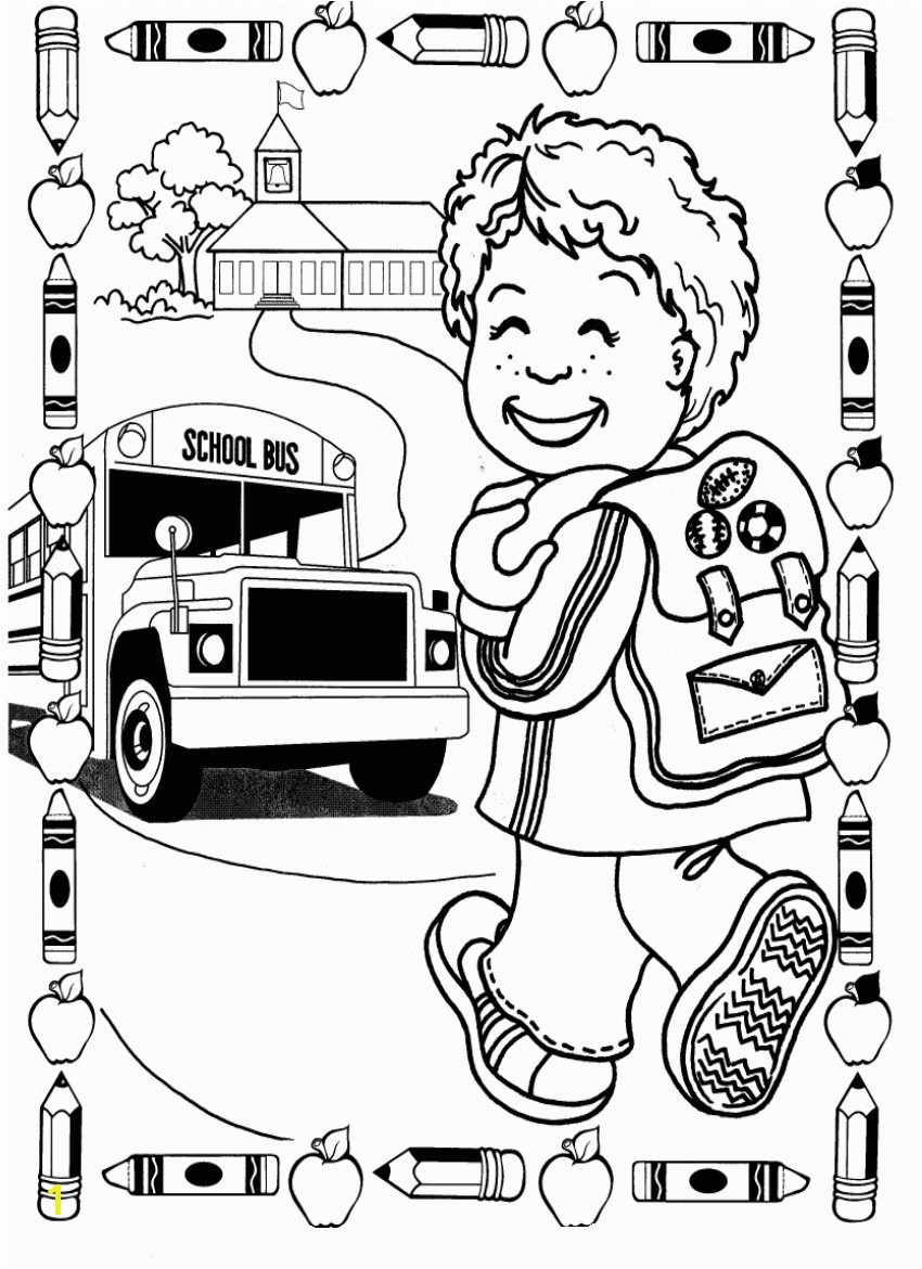 First Day School Coloring Pages Free Printable Page Beautiful 850 X 1170