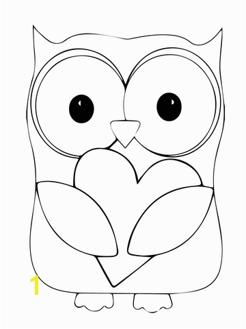 Valentine Day Owl Hugging a Heart coloring page