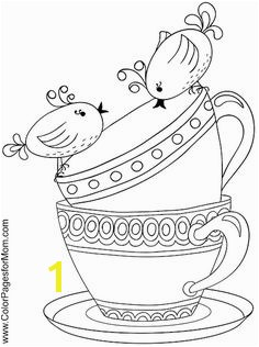 Cups and Saucers Coloring Page I think some of these are suitable for embroidery