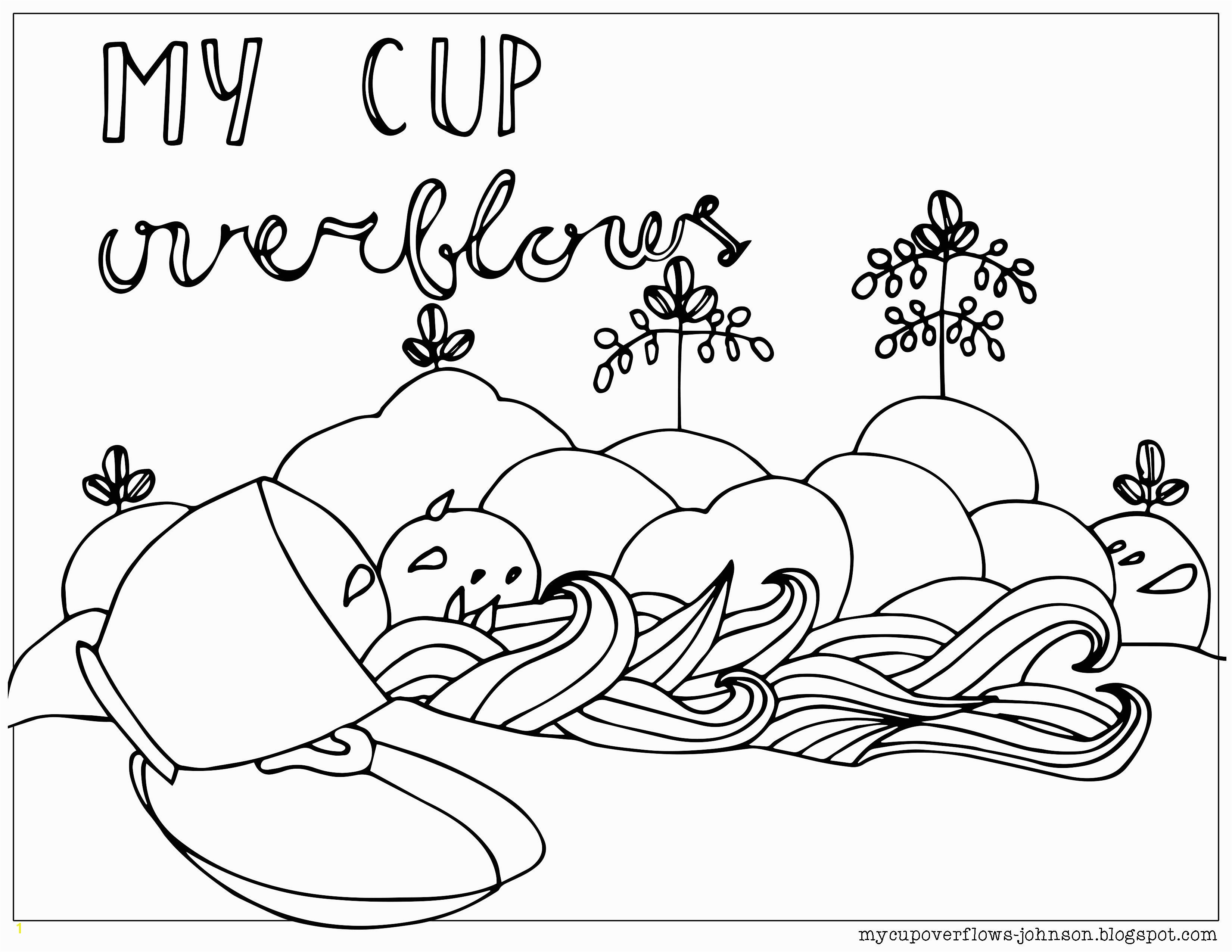 My Cup overflows coloring page Psalm 23 5 6