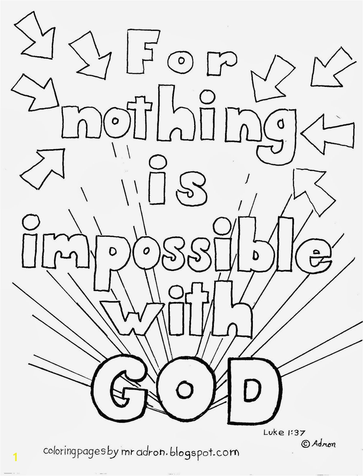Coloring Pages for Kids by Mr Adron Nothing is Impossible for God Free Coloring Page Luke 1 37