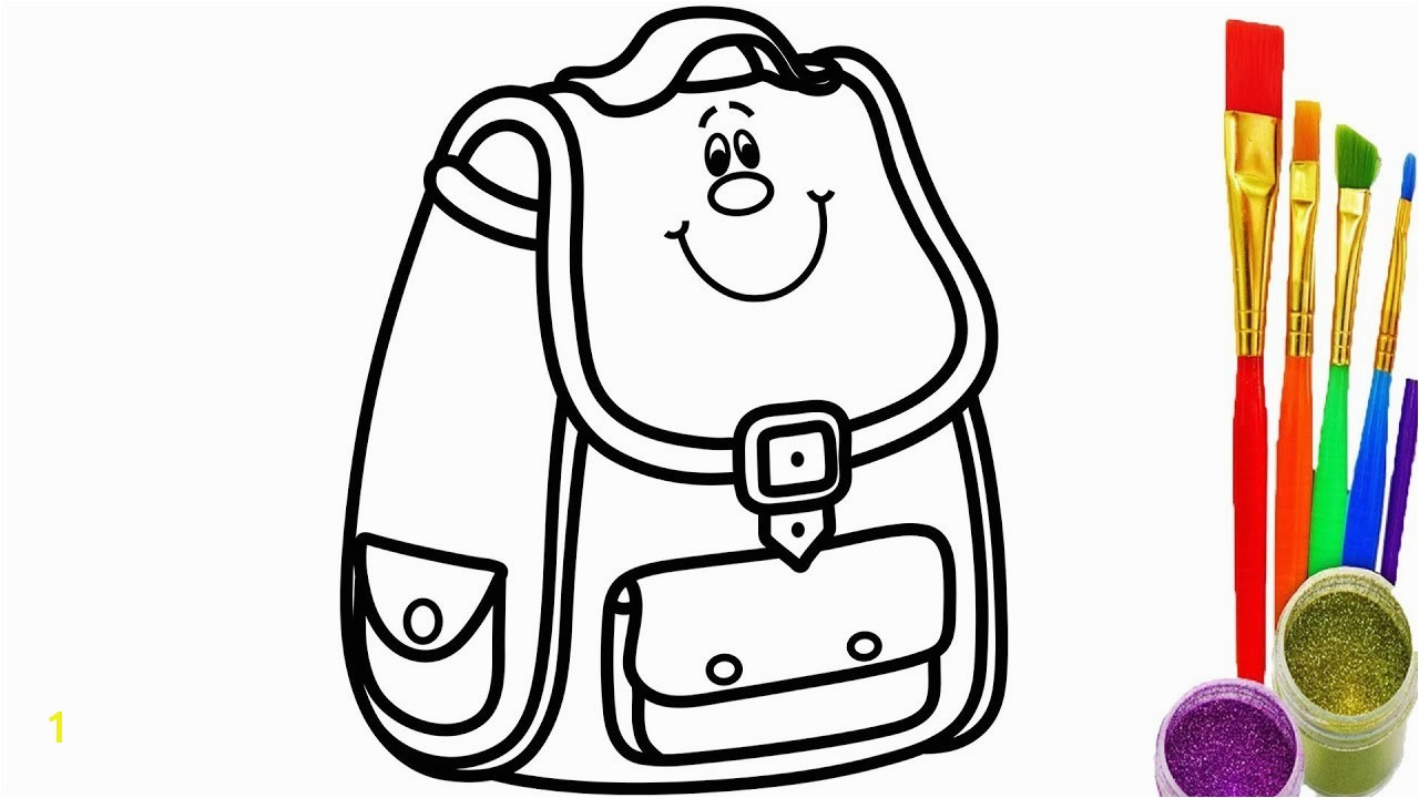 How to Draw School Bag for Kids Coloring Pages Videos for
