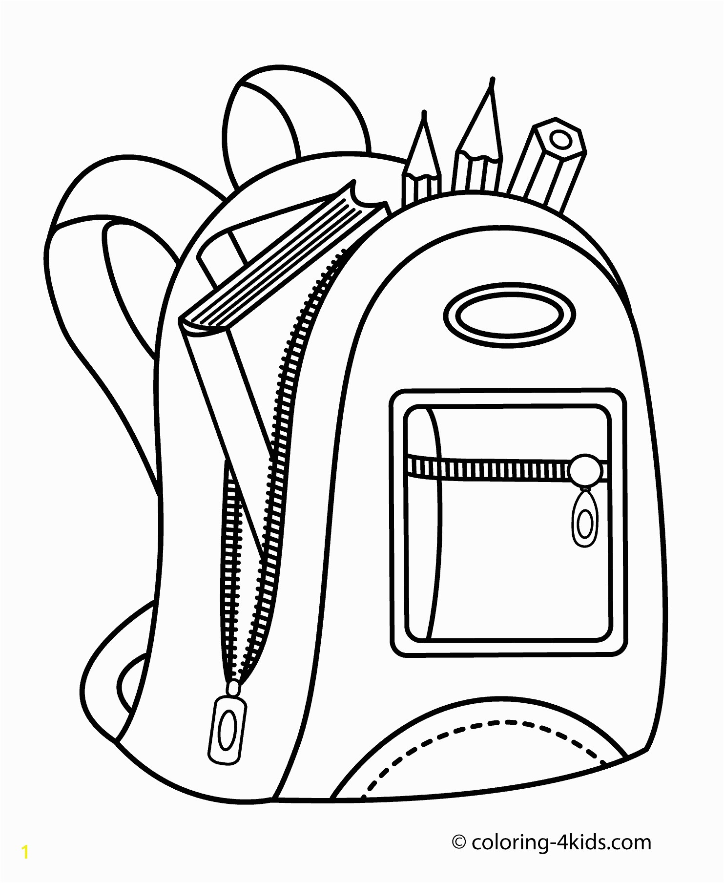 Golf Bag Coloring Page School Bag Drawing at Getdrawings