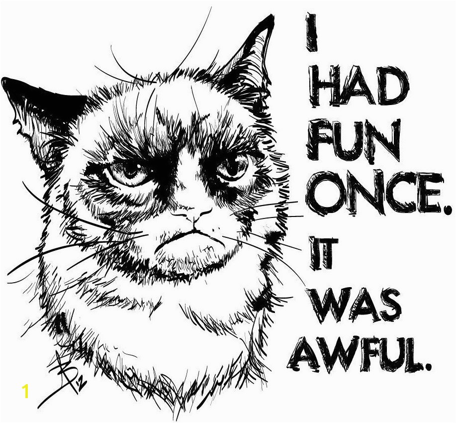 Grumpy Cat Coloring Pages 3
