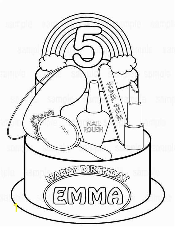 Personalized Printable Spa party coloring page