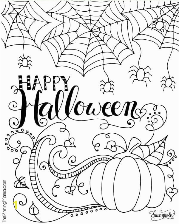"Grab this cute ""Happy Halloween"" printable Halloween coloring page at The Pinning Mama"