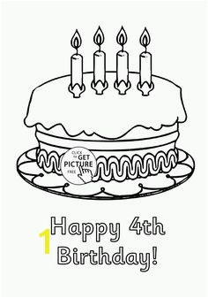 Happy 4th Birthday Cake coloring page for kids holiday coloring pages printables free Wuppsy