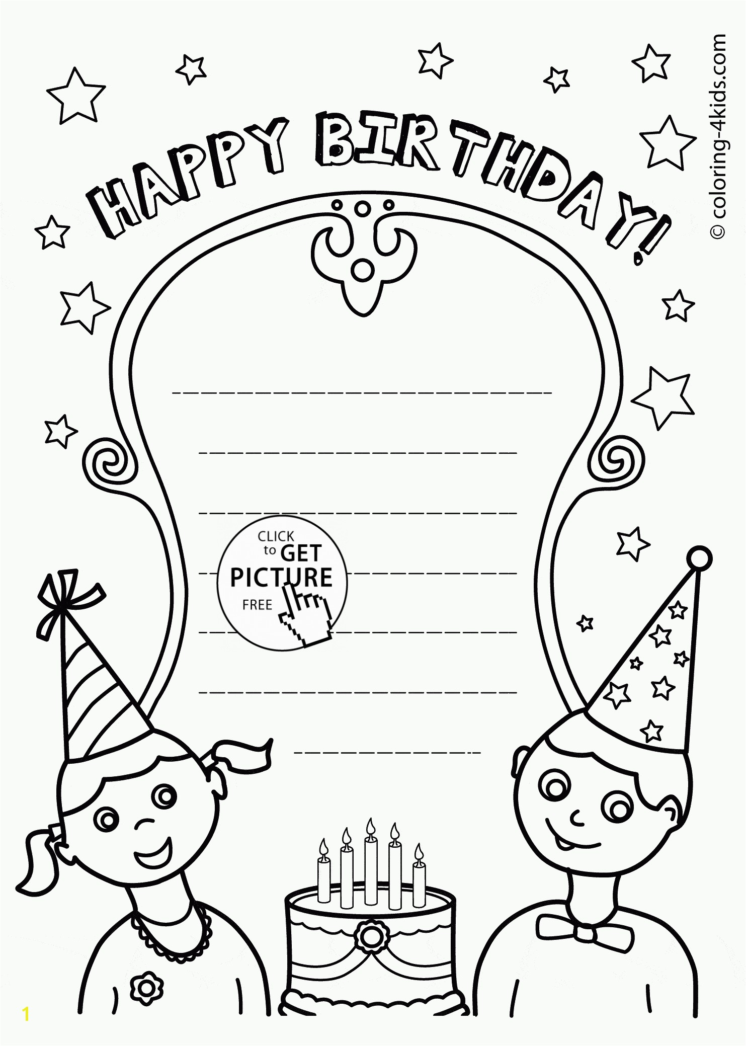 Nice Happy Birthday Card coloring page for kids holiday coloring pages printables free Wuppsy