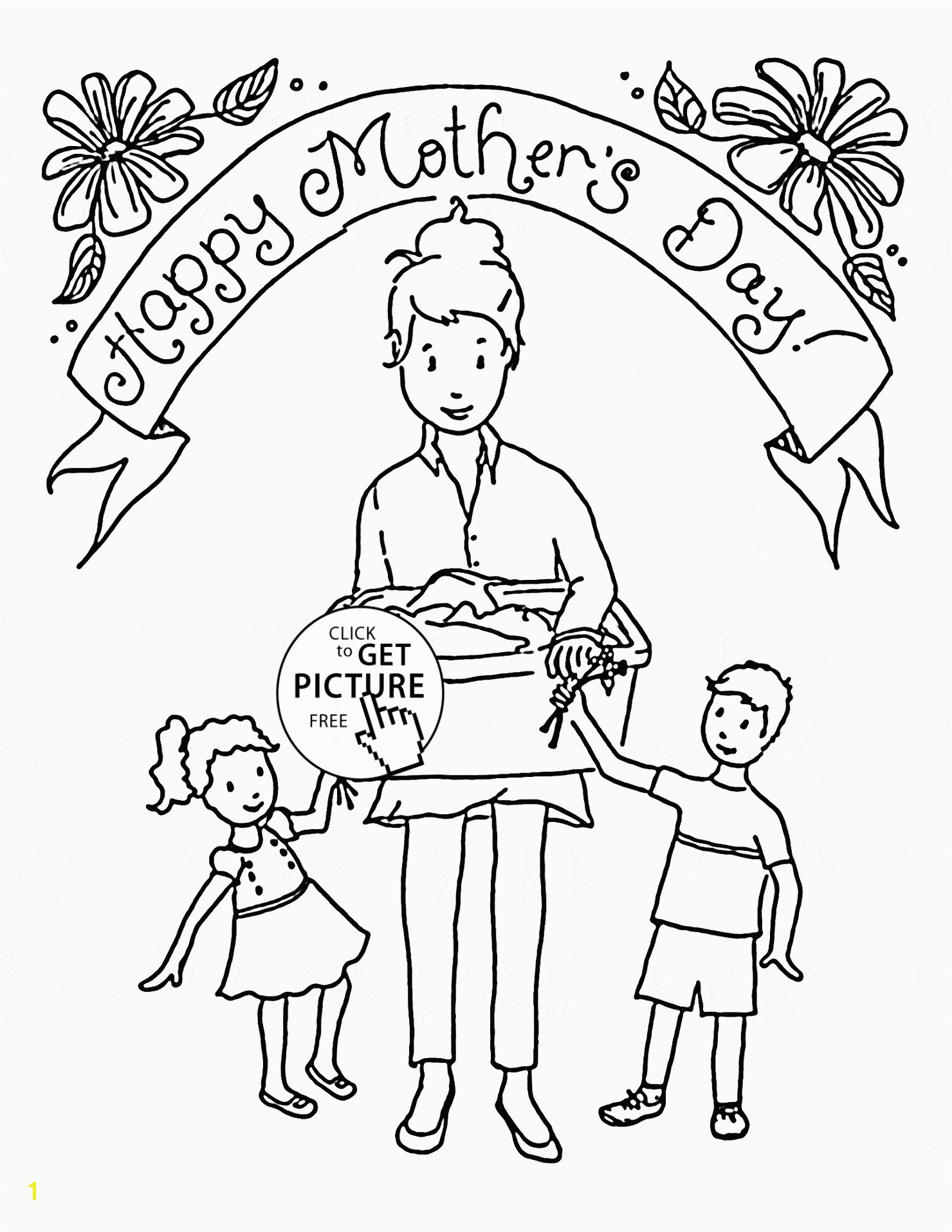Coloring Pages Grandma Free 15 n Happy Mother and her kids Mother s