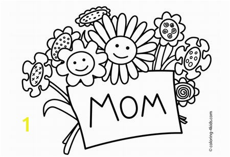 Printable Mother s Day Coloring Pages at GetColoringPages A bouquet of smiling flowers holding a card that says ""
