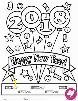 New Year Music Color by Note Activities Music Coloring Pages for 2018