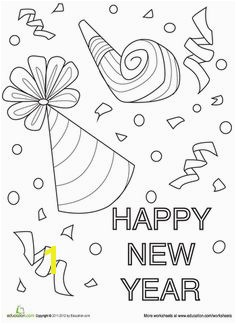 Happy New Year Party Hats Coloring Page Church Stuff Pinterest