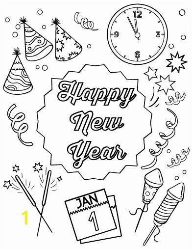 Celebrating Happy New Year Coloring Pages