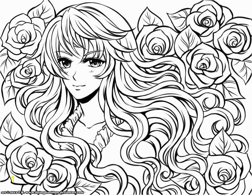 Girl Coloring 9 Hard Anime Coloring Pages Amy line
