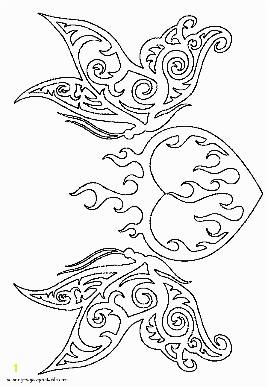 Love heart Burning heart and butterflies coloring page