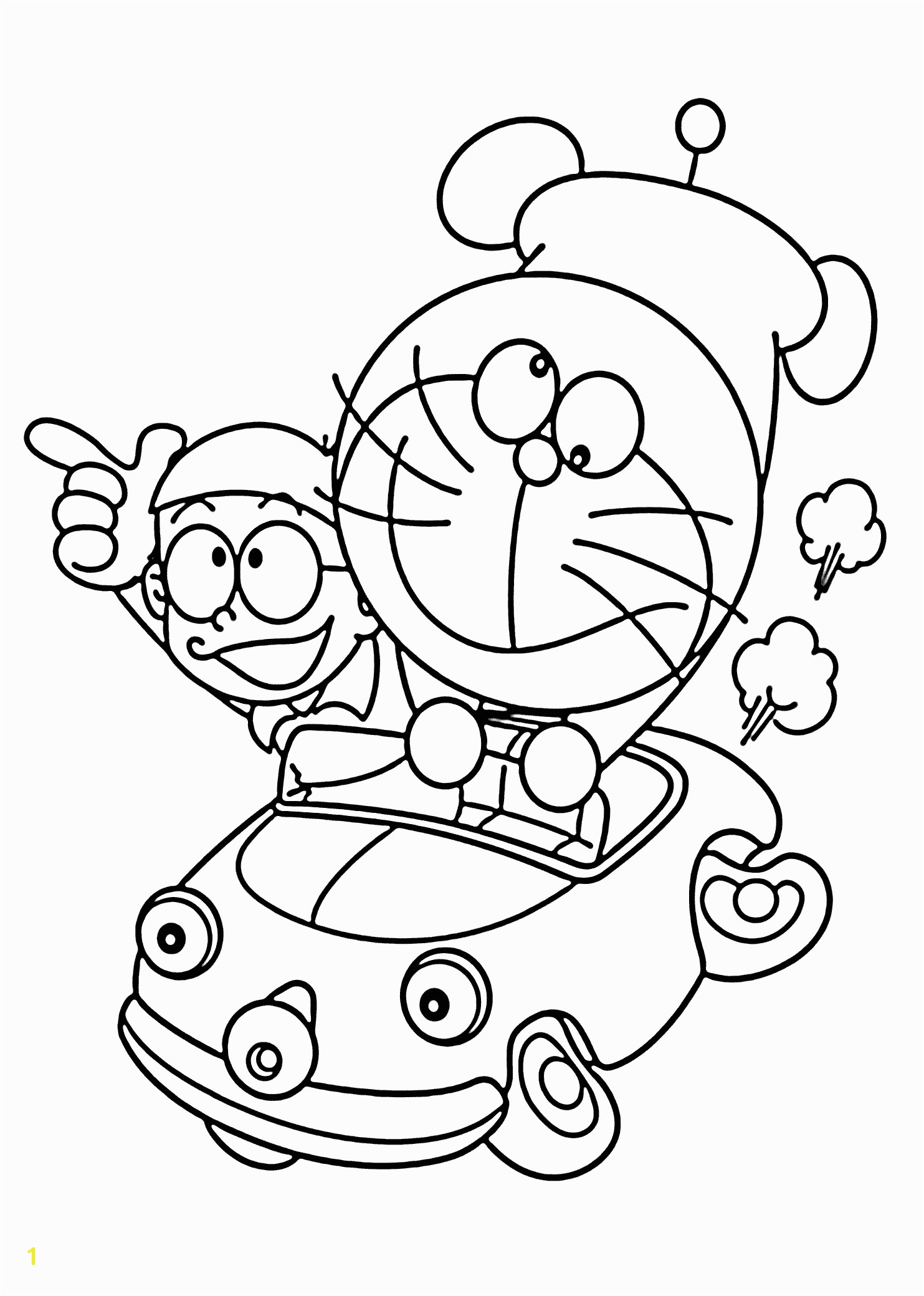 Doraemon in car coloring pages for kids printable free Doraemon cartoon
