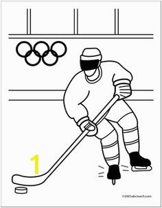 Coloring Page Olympics Ice Hockey Ice hockey coloring page in black and white