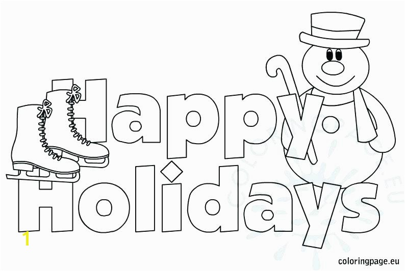 Happy Holidays Coloring Page Pages Printable Winter Holiday Free In Wonderful For