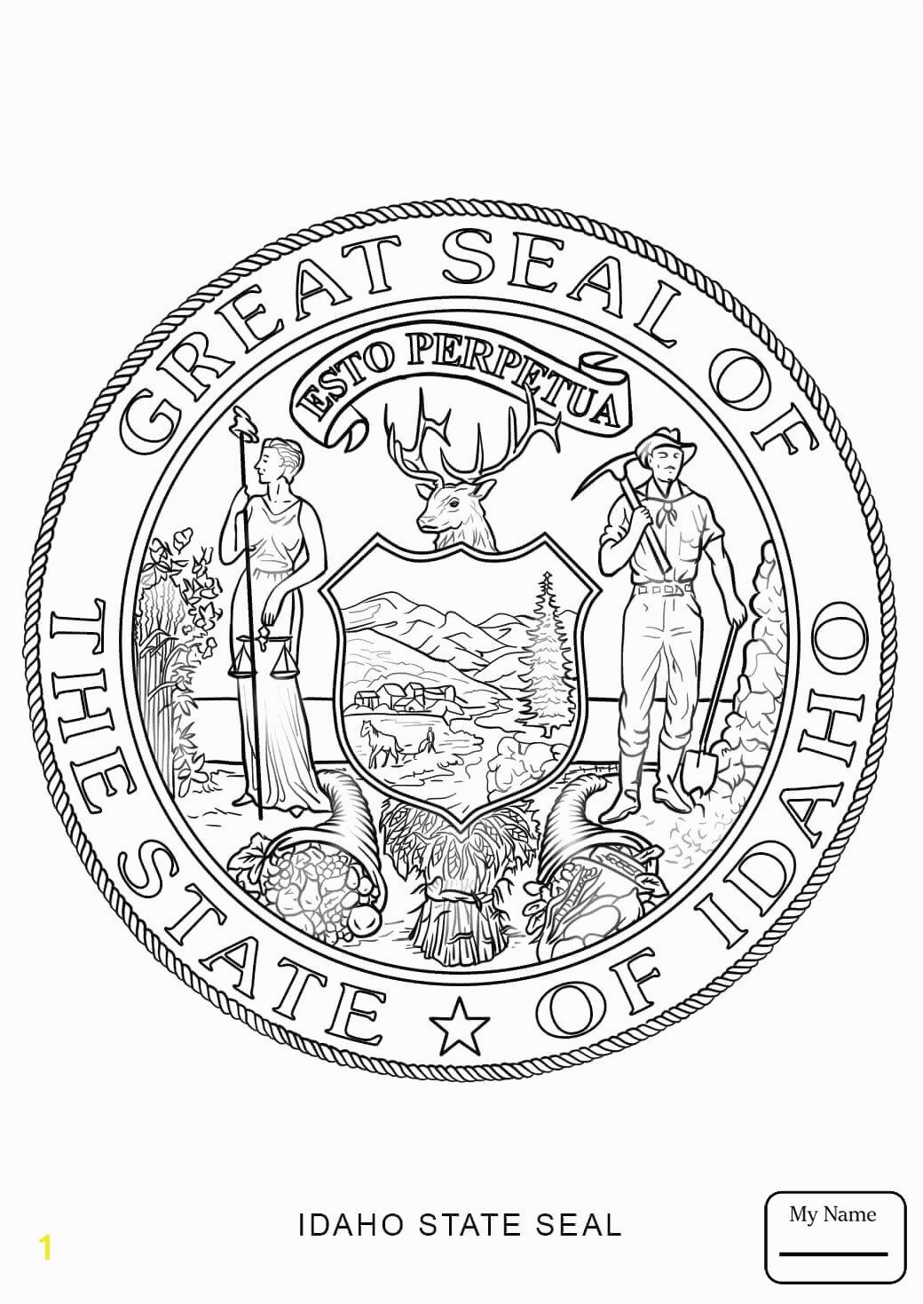 Popular Idaho State Symbols Coloring Pages For Kids Countries Cultures Massachusetts Seal Page