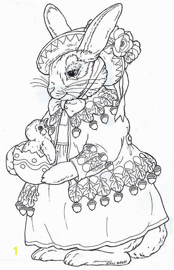 "Beatrix Bunny by Jan Brett I like these traditional realistic bunnies More versions on Jan Brett s page Including a ""quartet"" singer looking one and one"