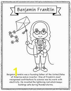 Benjamin Fanklin Coloring Page or Poster with Mini Biography
