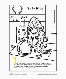 Sally Ride Coloring Page Worksheet