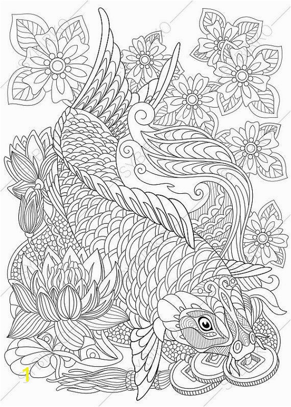 Carp Koi Fish Coloring Page Adult coloring by ColoringPageExpress