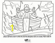 Jesus Calms the Storm Bible Coloring Pages
