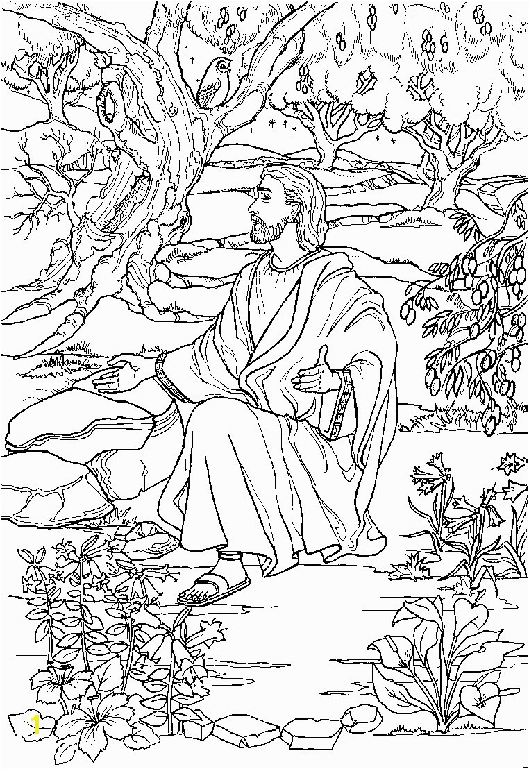 Jesus In the Garden Of Gethsemane Coloring Page Printable Jesus Praying In the Garden Gethsemane Coloring Pages