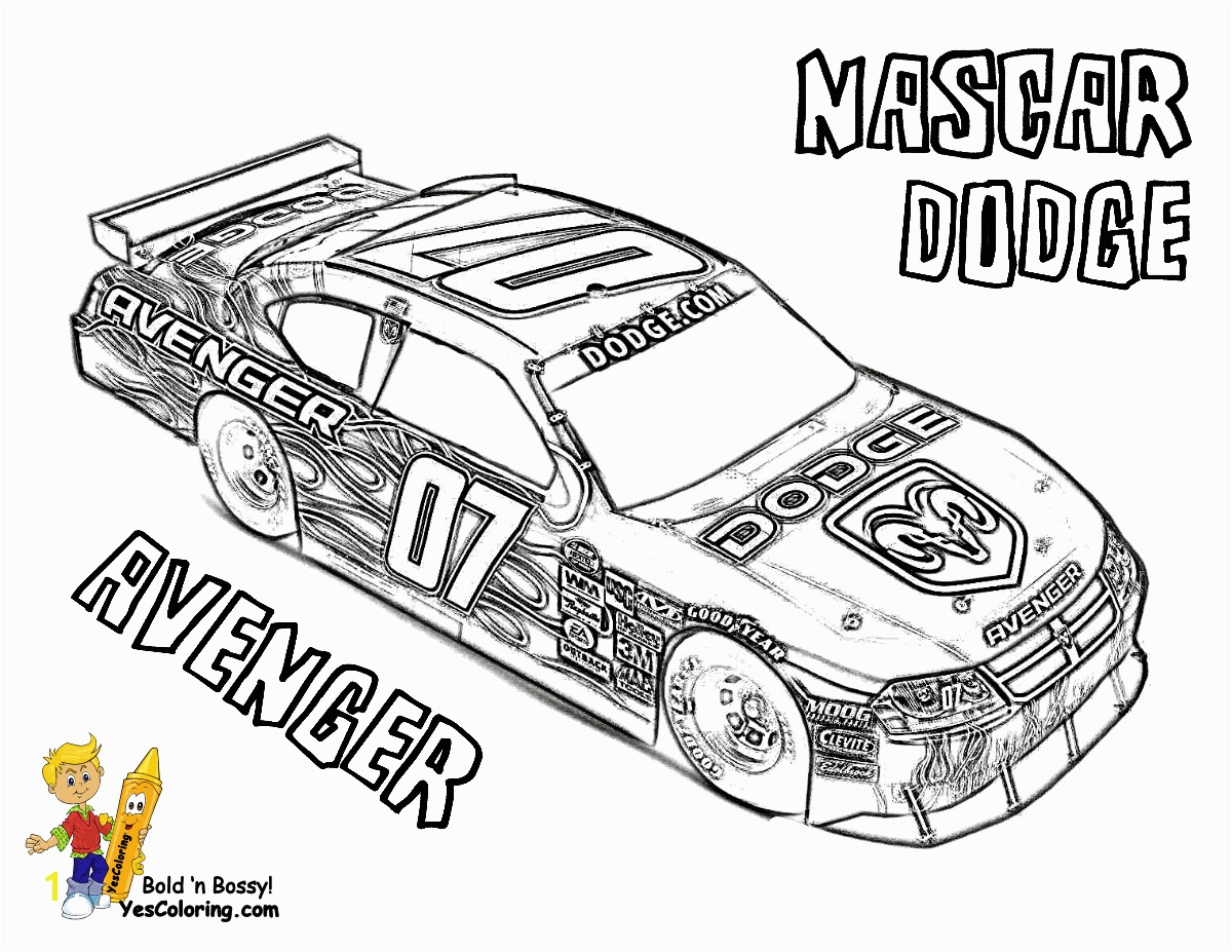 Extraordinary Coloring Page Free Nascar Dodge Avenger Full At Race