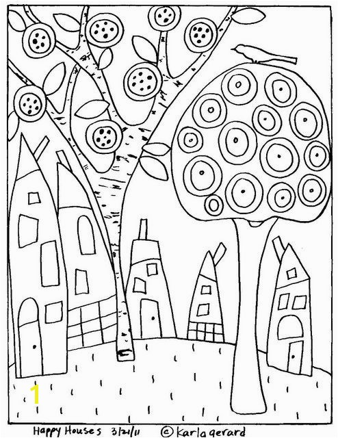 Karla Gerard Coloring Pages Elegant Rug Hooking Craft Paper Pattern Happy Houses Folk Art Abstract