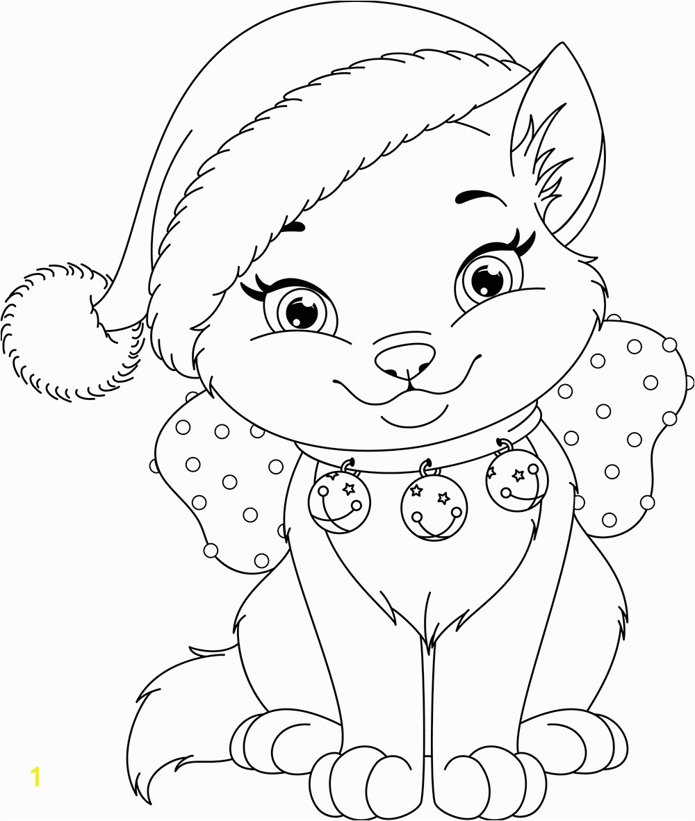 Kitty Cat Christmas Coloring Pages Free 4 f Kitty Coloring Pages Christmas Image