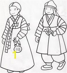 Korean Hanboks coloring pages